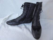 NO NAME boots bottines plates CUIR poulain noir lacets T 36 comme NEUF