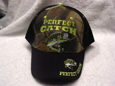 BASS FISHING PERFECT CATCH FISH FISHERMAN BASEBALL CAP HAT BLACK & CAMOUFLAGE