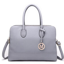 de97dc1515 Ladies Fashion Designer PU Leather Handbag Tote Shoulder Gray Bag Women