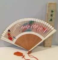 """VTG 16"""" Wide Pierced Carved Wood Hand Painted Chinese Hand Fan w/ Box EUC"""