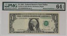 1981 $1 FEDERAL RESERVE NOTE DALLAS PRINTED FOLD ERROR PMG CU 64 EPQ (233D)
