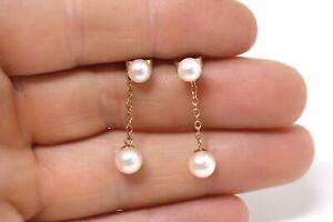 Very Nice Pair of Vintage 9ct Yellow Gold 375 Cultured Pearl Earrings #026