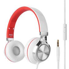 RockPapa Stereo Foldable Headphones Headset for Samsung LG SmartPhone White Red
