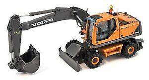 Volvo EW180B - Wheeled Excavator 1/87th Scale H0 Yellow/Grey New Boxed T48 Post