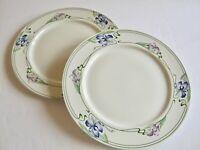 "2 pcs Villeroy & Boch Verona Dinner Plates Blue Purple Flowers Irises 10 1/2"""