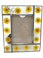"""Picture Frame Leaded Glass Yellow Dried Flowers Butterfly Photo Size 5"""" x 3.5"""""""