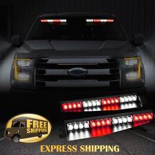 """34"""" 32 LED Car Emergency Warning Visor Split Deck Strobe Light Bar 12V Red White"""