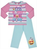 Girl's EMOJI Less Monday More Friday Long Pyjamas - Ages 7 - 14 Years Pjs
