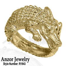 or Women's 5 to 14. style #R1933 14k Solid Yellow Gold Crocodile Ring for Men's