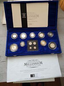 2000 Millennium Silver Proof 13 Coin Set Box Coa