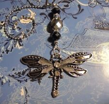Dragonfly Black Crystal~Ceiling Fan Pull~Hook on Chain/Lamps/Auto**~Silver