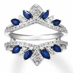 Blue Sapphire & Diamond 3.Ct 14K White Gold Over Jacket Guard Enhancer Wrap Ring