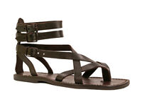 Brown men's ankle strap gladiator sandals Handmade in Italy