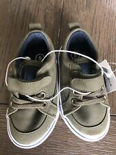 Cat & Jack Toddler Boys' Avery Easy Close Faux Leather Sneakers, 5, Olive green