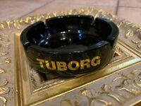 "VINTAGE TUBORG BEER ASHTRAY BLACK GLASS GOLD LETTERING 5.5"" ROUND EUC"
