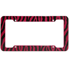 Red Safari Zebra Tiger Print Plastic License Plate Frame Car Truck SUV Van D