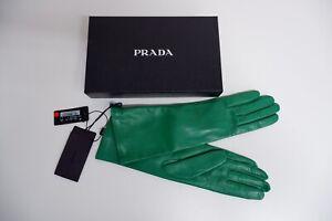 Prada Womens Green Leather Gloves, Size 8, NEW, Italian Made, BNWT
