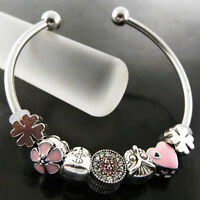 Bracelet Bangle Real 925 Sterling Silver S/F Solid Cuff Charm Bead Cuff Design