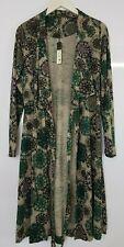 Sandwich Wrap Around Dress With Belt Floral Sunflowers Pattern Green Large   280