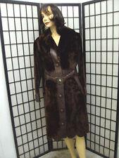 MINT SHEARED ARCTIC BEAVER FUR & LEATHER COAT JACKET WOMEN WOMAN SIZE 6 SMALL