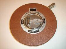 100' Vintage Reel Tape Measure- Charleston, Montreal - Evans White Tape Measure