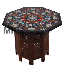 "24"" Mosaic Vintage Coffee Table Marble Stone Inlay End Table Top Mid Century"