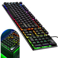 Gaming Mechanical Keyboard MultiColor RGB Backlit USB Wired For PC Desktop Xbox