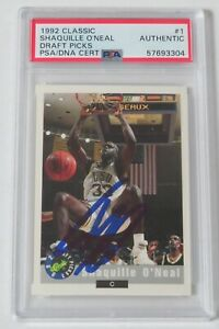 Shaquille O'Neal HOF Signed Auto1992 Classic Draft Picks Rookie RC Card #1 PSA