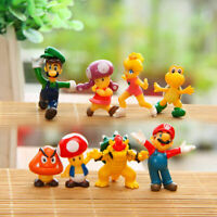 8pcs Super Mario Bros Yoshi Luigi Goomba Action Figure Playset Cake Topper