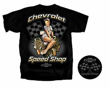 Men's Chevy Chevrolet Speed Shop with Sexy Pin-Up Girl Black T-Shirt size XXL
