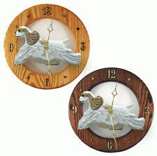 Cocker Spaniel Wood Wall Clock Plaque Brn Parti
