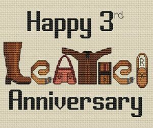 3rd (Leather) Anniversary Cross Stitch Design (kit or chart)