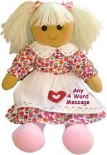 Personalised Large Rag Doll 1st Birthday Flower Girl New Baby Christening Gift