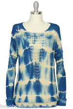 NWT $300 Twelfth Street by Cynthia Vincent Blue Tie Dye Sweater sz S