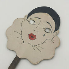 Vintage Mime Tear Face Hand Fan Mask Actress Marked On Back