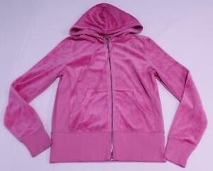 Juicy Couture Womens Scottie Blissful Track Jacket HD3 Hot Pink Velour Large