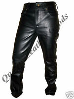 100% GENUINE LEATHER MENS 501 STYLE COMFORTABLE LUXURY PANTS JEANS TROUSERS