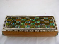 Egyptian Inlaid Mother of Pearl Pen Holder Box 7.75