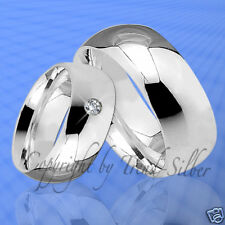 2 Ringe Trauringe m. Stein Silber 925 & Gravur J24-1