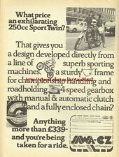 Jawa CZ 250cc Sport Twin Motorcycle 1976 Mag Advert #1836
