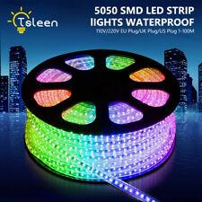 110/220V 5050 LED Strip IP67 Waterproof Rope Lights Purple Blue RGB Colors US