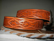 3D LEATHER  WESTERN TOOLED MENS BELT OVERLAY 1+ INCH FLORAL BASKETWEAVE SIZE 34