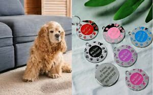 Personalised ENGRAVING Dog ID Cat ID Name Bling Tag Puppy Pet ID Tags 11 COLORS
