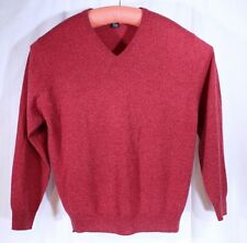 Jos. A Bank Red Cashmere V-Neck Men's Sweater Size L Small Hole Cutter Fabric