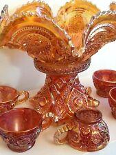 Brilliant Marigold Orange Punch Bowl & Base w 5 Cups Carnival Glass Set