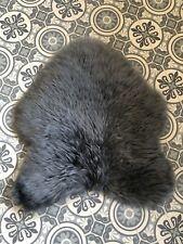 Real Genuine Sheepskin Plush Motorcycle Seat Pad / Pet Bed Dark Grey