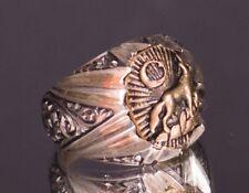 Sterling silver men ring, steel pen craft, wolf and wildlife,  handmade
