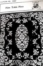 1042 Antique Elegant FILET TABLECLOTH Pattern to Crochet (Reproduction) 39 x 45