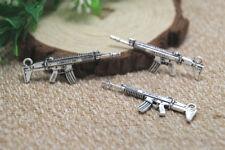 10pcs machine gun Charms Silver Tone 2 sided machine gun charm pendants 45x16mm