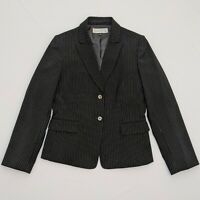Tahari Size 8 Arthur Levine Womens Blazer Black Pinstripe Fully Lined 2 Button